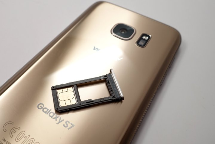 A SIM card taken from inside the Samsung Galaxy S7 Edge