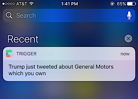 Get a notification anytime Trump Tweets about stock you own.