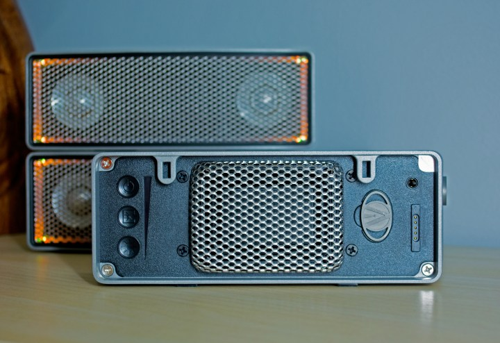 Control the speakers with controls on the back or with an app.