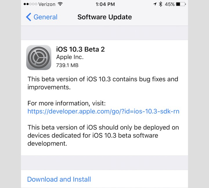 The iOS 10.3 beta 2 is now available.