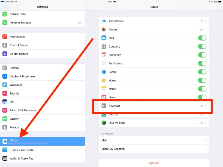 turn on icloud sync in settings app