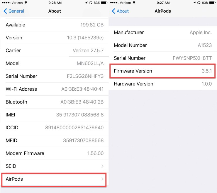 apple airpods firmware version number