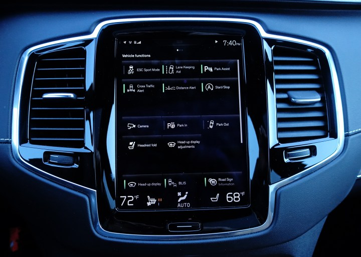 Control the many safety options on the touch screen.