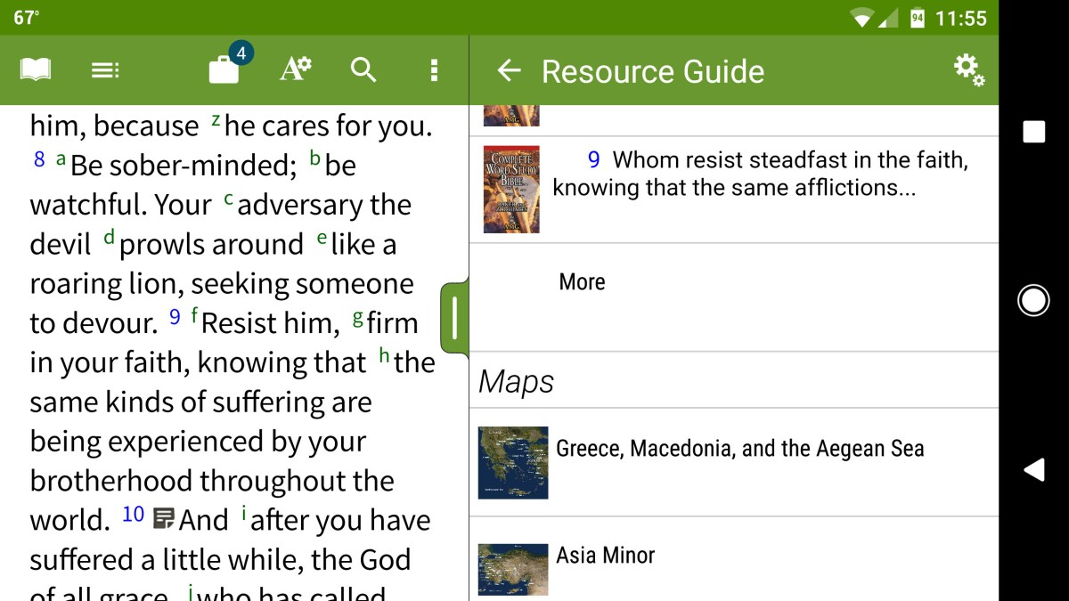 olive tree bible android app in landscape