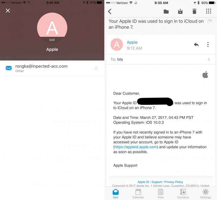 Example of a fake iCloud Security email.