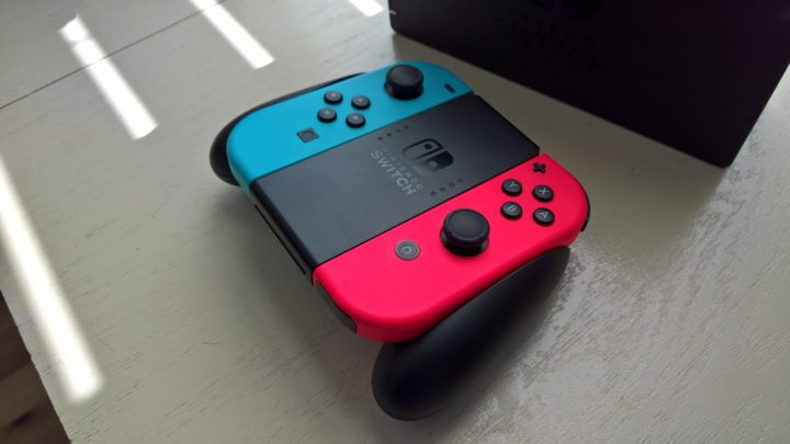 Nintendo Switch Joy-Cons and Joy-Con Grip.