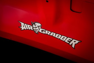 The Air-Grabber™ logo on the underside of the hood of the 2018 Dodge Challenger SRT Demon.