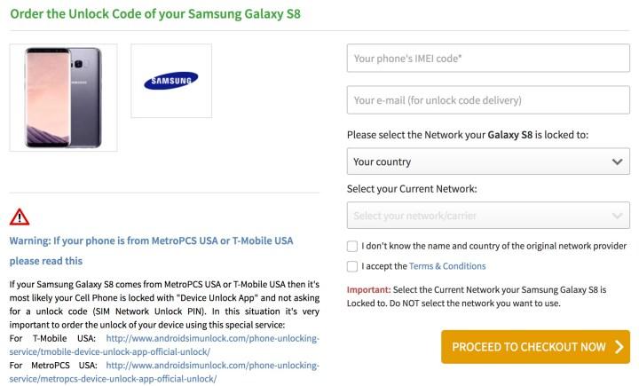 samsung galaxy s8 verizon unlock code
