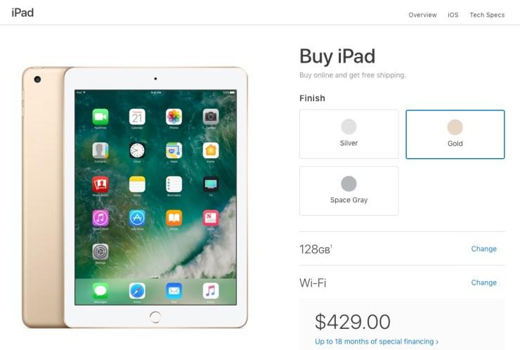 apple 2017 ipad color options