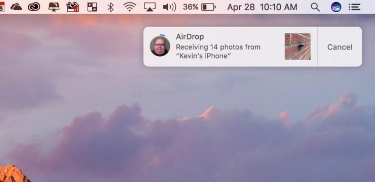 recieving iphone photos through airdrop
