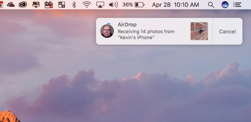 recieving iphone photos through airdrop