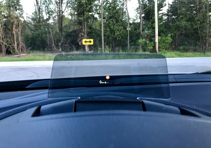 Keep your eyes on the road with a heads up display that even shows street signs.