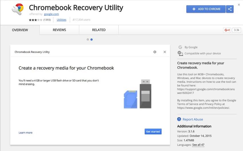 chromeos recovery web app