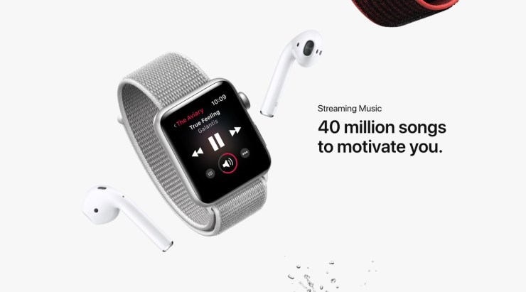 Stream music on the Apple Watch GPS + LTE as long as you use Apple Music.