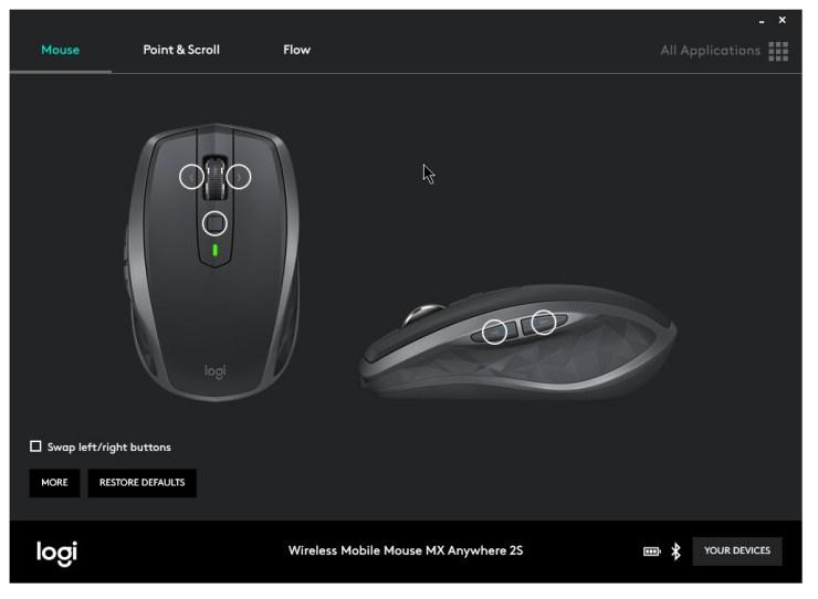 logitech options software button configuration