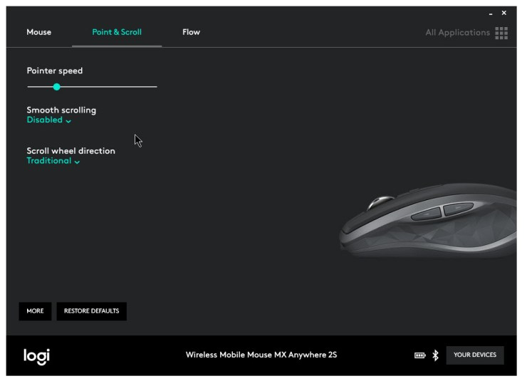 logitech options software point and scroll options