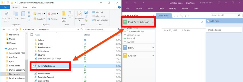 onenotebook file name changing