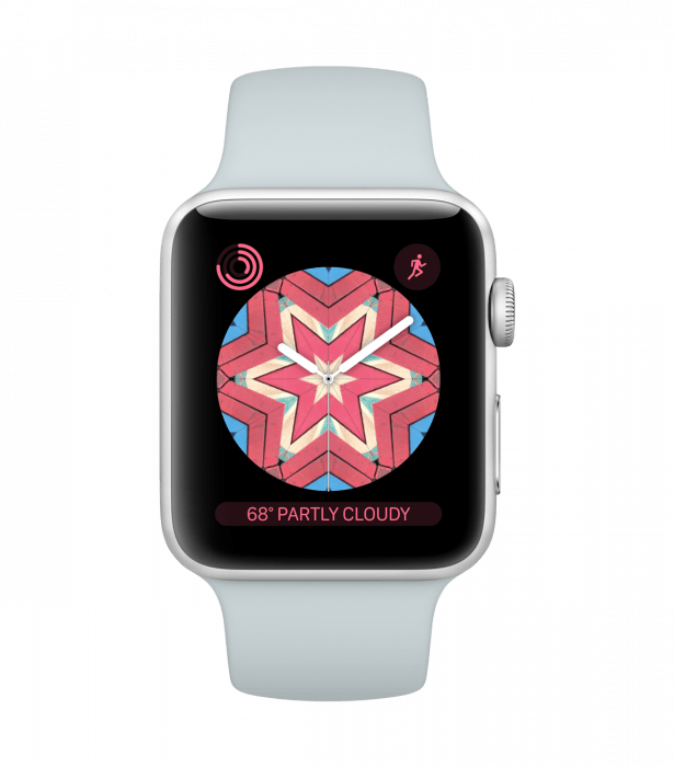 new watchOS 4 feature Kaleidoscope watch face pink