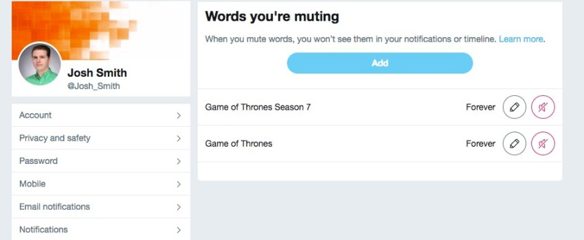 Block Game of Thrones spoilers on Twitter.