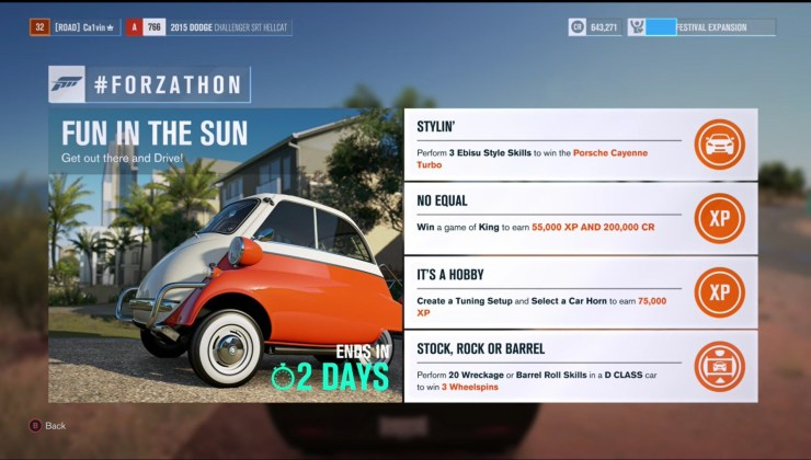 What to do if you cannot get Forzathon rewards to show up.