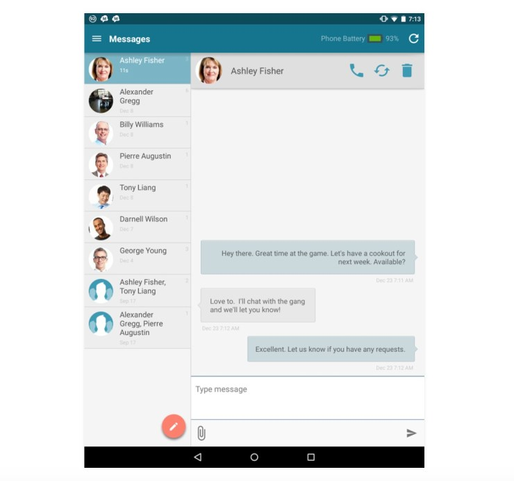 MightyText SMS from Tablet