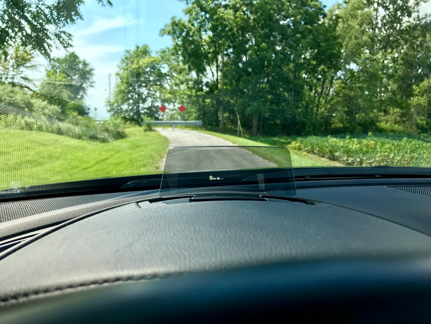 The heads up display shows you road signs, your speed and more.