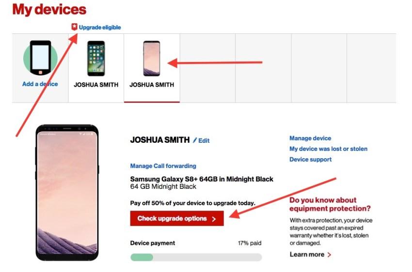 Check your Verizon upgrade eligibility.