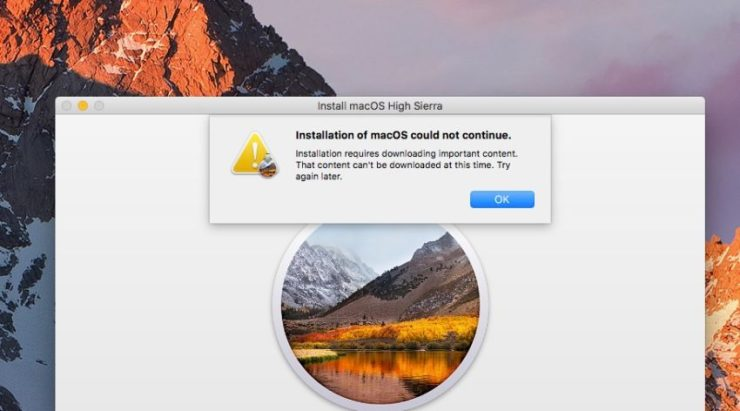 We saw this error due to a macOS High Sierra download problem.