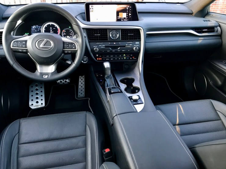 You'll find a very nicely appointed interior inside the RX 350 F Sport.