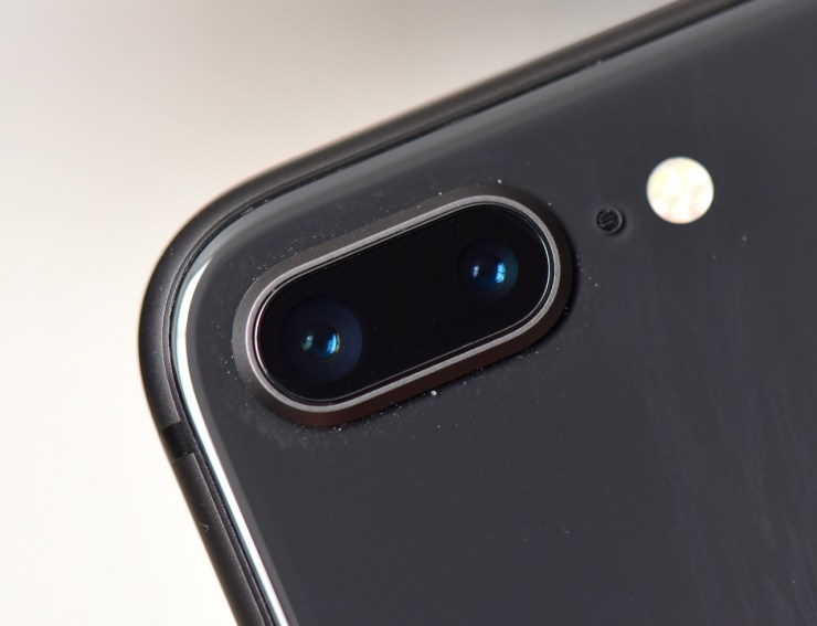 Close up of iPhone 8 Plus review camera black