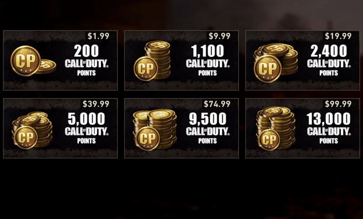 You can spend up to $99.99 on Call of Duty Points.