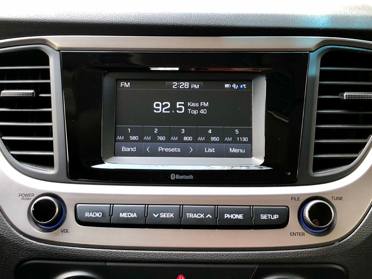 Tech options are basic, but you still get a touch screen, Bluetooth and line in.