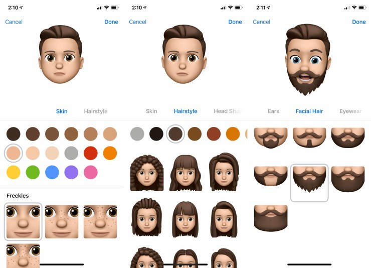 Pick the rest of your options to make a Memoji.