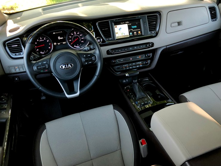 The front seat is comfortable, controls are always in reach and there's decent amounts of storage.