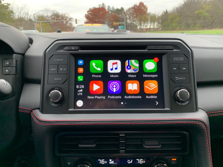A beautiful infotainment screen includes Apple CarPlay support and beautiful digital gauges.