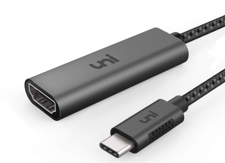 An HDMI adapter is necessary to connect to a external display.