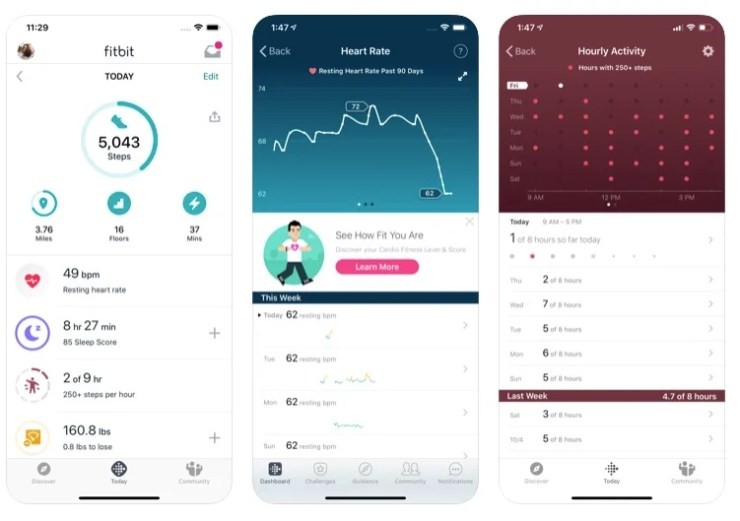 capture d'écran de l'application fitbit