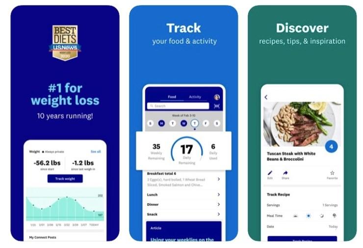 captures d'écran de l'application Weight Watchers