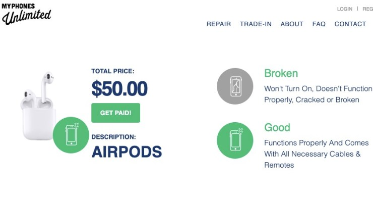 You can trade in your AirPods for about $50 or sell for about $120.