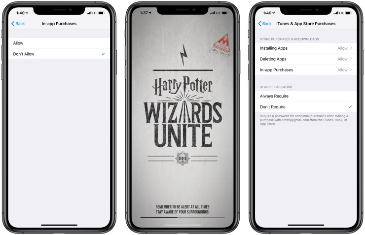 How to turn off Harry Potter: Wizards Unite in app purchases.