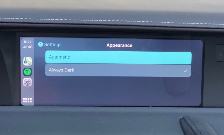 Choose always dark or automatic.
