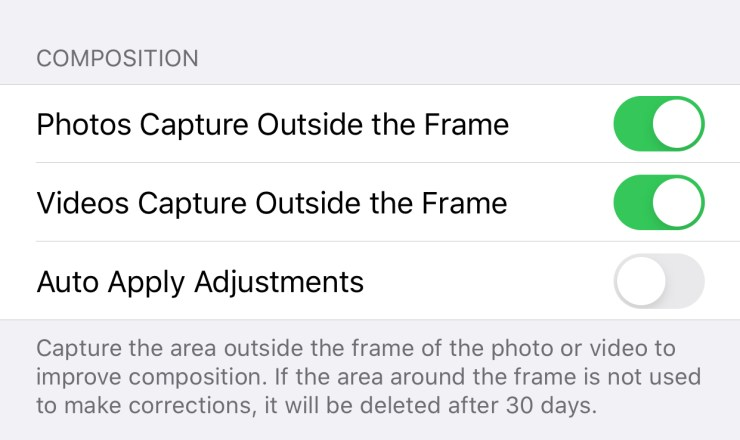 Record outside of the frame for the ability to re-compose your shot later.