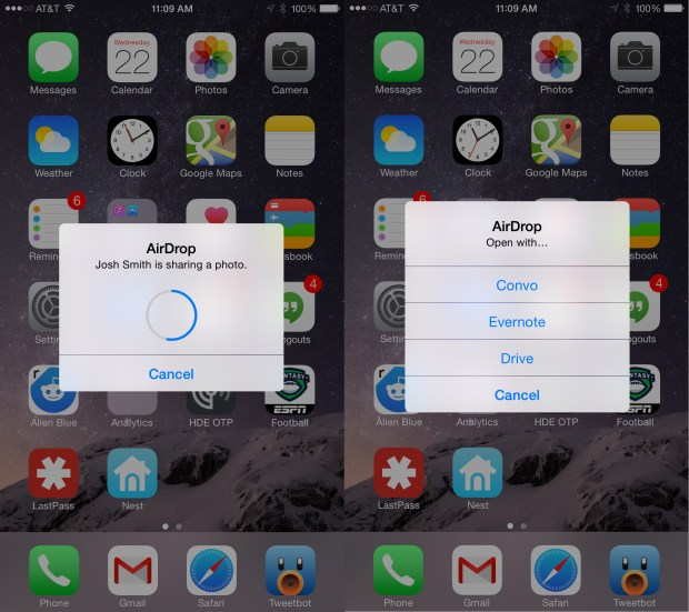 Use AirDrop from Mac to iPhone or iPad with OS X Yosemite.