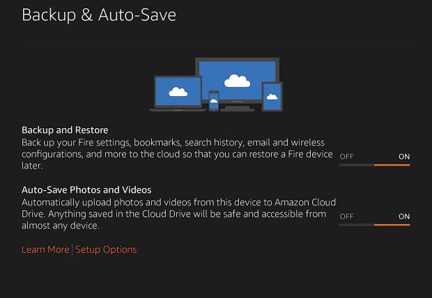 Automatically backup your settings, data and photos.