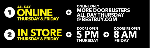 Best Buy Black Friday hours start on Thanksgiving day in store and online.
