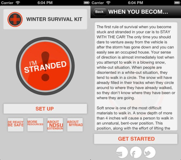 Use this app to survive getting stuck in your car in bad winter weather.