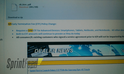 Screenshot of a document showing ETF change at Sprint