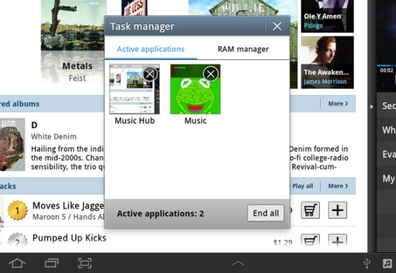 Samsung Galaxy Tab 8.9 TouchWiz -Mini App Task Manager