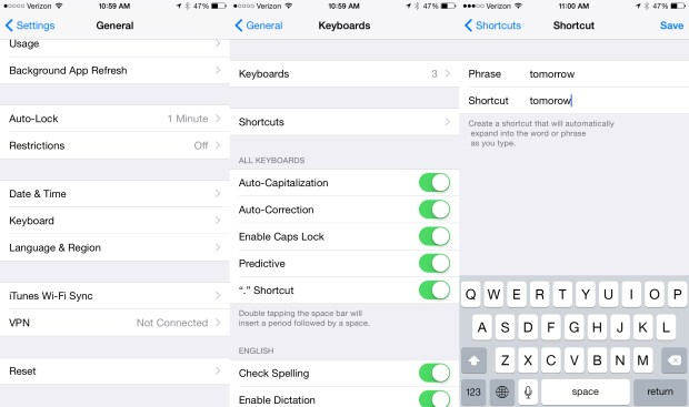 Add words to your phrases to fix common iOS 8 autocorrect problems.