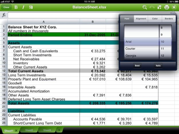 Quickoffice HD Spreadsheet